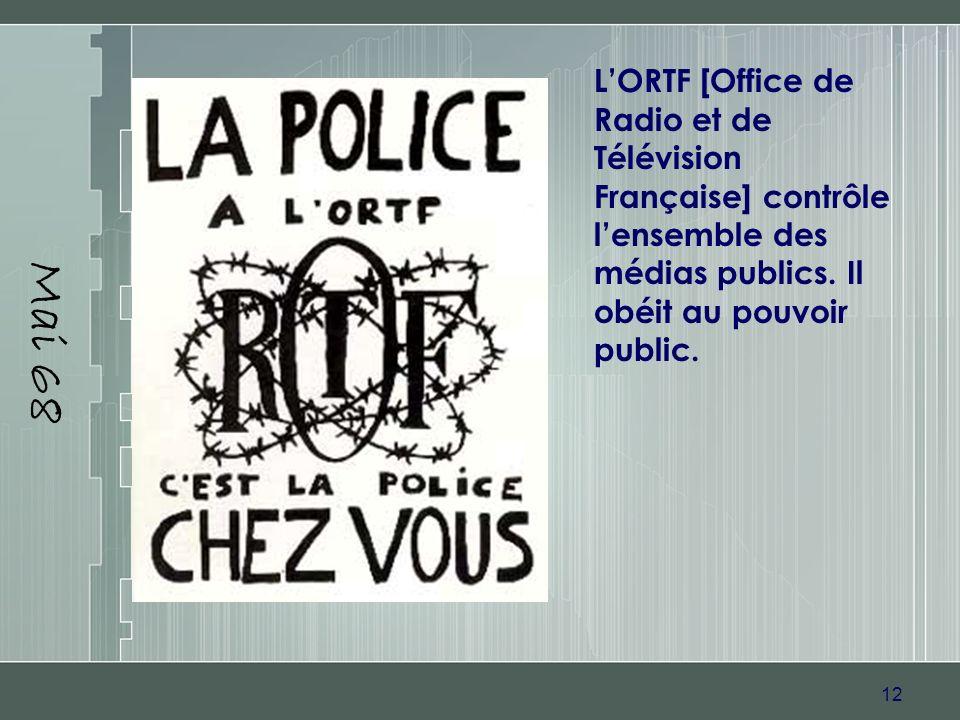 Mai 68 L'ORTF [Office de Radio et de Télévision Française] contrôle l'ensemble des médias publics.